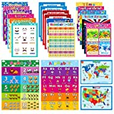 HOUMESO 22 Pack Educational Preschool Learning Posters for Toddler, Teacher Homeschool Supplies - Classroom Décor, Learning Toys for Children Kids, Multiplication Chart Alphabet Poster 16 x 11 Inch