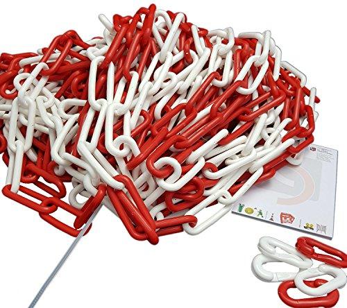 UvV Absperrkette Kunststoff 25 Meter Bund inkl. 5 Notglieder in verschiedenen Stärken und Farben (8 mm x 25 Meter, rot-weiß)