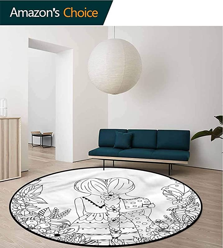 RUGSMAT Doodle Round Rug Kid Carpet Ponytailed Girlfriend Design Non Slip Fabric Round Rugs For Living Room Diameter 71