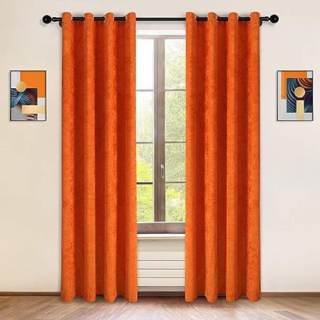 Modern Orange Decor Monarch Curtains Window Shade Window Treatments Long Bold Drapes Orange Curtains Cafe Curtains Drapery Panels