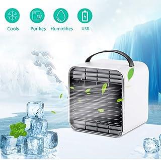 Enfriador de aire, portátil USB Acondicionador de aire del ventilador del ventilador de escritorio personales mini ventilador de mesa Ventilador sin cuchilla para la seguridad del coche del dormitorio