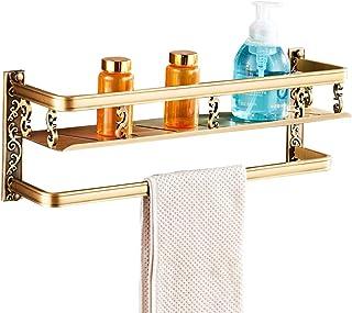 ZHAOHUI 浴室用ラック スペースアルミ ガードレール付き 壁掛け式 防錆剤 耐食性 タオル掛け ドレイン、 パンチ取り付け、 3色 (色 : ゴールド)