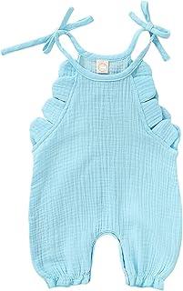 طفل رضيع فتاة تكدرت أكمام الصلبة رومبير بذلة القطن الكتان الزي الوليد ملابس الطفل الصيف (Color : Blue, Kid Size : 18M)