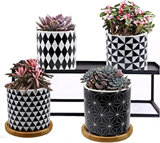 "winemana Geometric Succulent Pot, 3"" Colorful Succulent Planter Modern Pattern Bonsai Cylinder Container with Drainage Hol..."