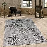 Paco Home In- & Outdoor Teppich Vintage Design Rautenmuster Flachgewebt In Grau, Grösse:120x170 cm
