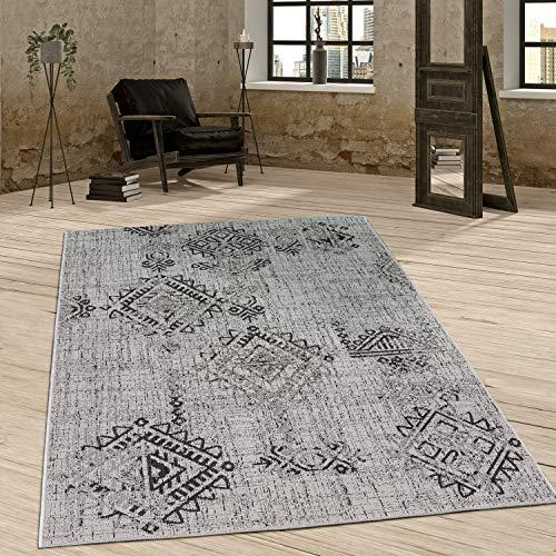 Paco Home In- & Outdoor Teppich Vintage Design Rautenmuster Flachgewebt In Grau, Grösse:200x280 cm