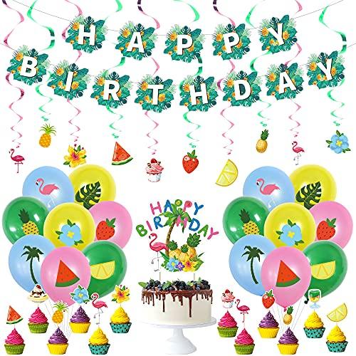 Hawaii Dekoration Party Tropical Party Deko Summer Hawaii Ballon Dekoration Tropische Partyzubehör Einschließlich Banner, Hängende Spiralkarte, Kuchendeckel, Partyballons(41 Stück)
