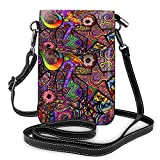 Lightweight Colorful Star Rainbow Line Spirit Art Small Crossbody Bag with Multi Pocket for Women, Fashion Leather Cell Phone Purse Coin Card Case Wallet with Shoulder Strap