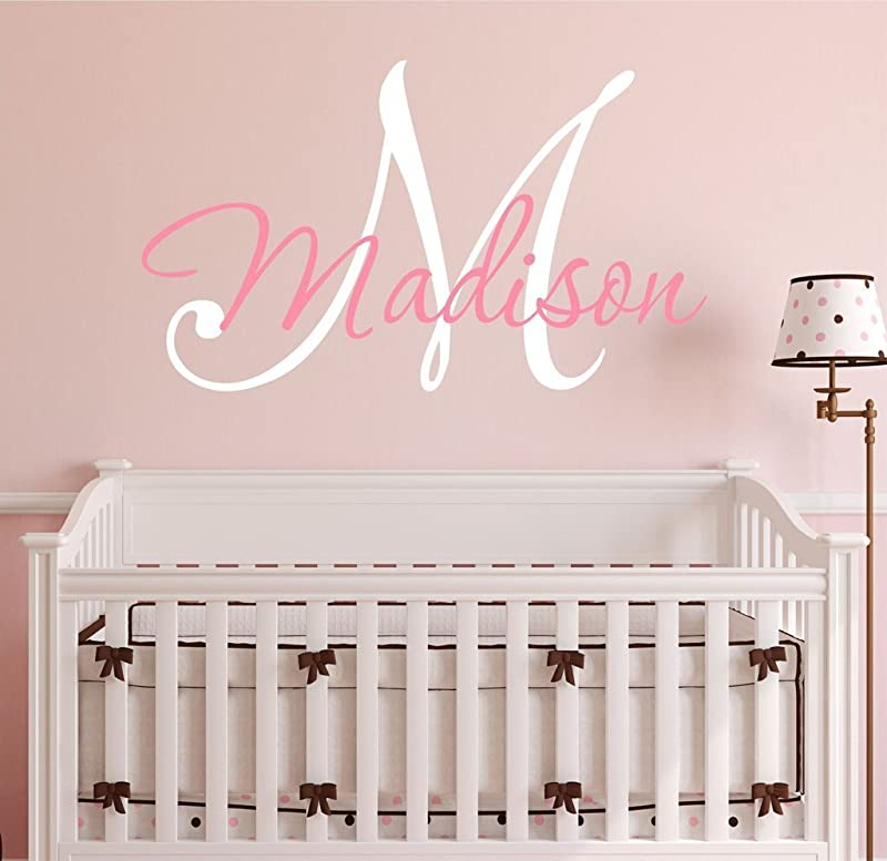 Nursery Custom Name And Initial Wall Decal Sticker 23 W By 17 H Girl Name Wall Decal Girls Name Wall Decor Personalized Girls Name Decor Nursery Bedroom Baby Decor Plus Free Hello Door Decal