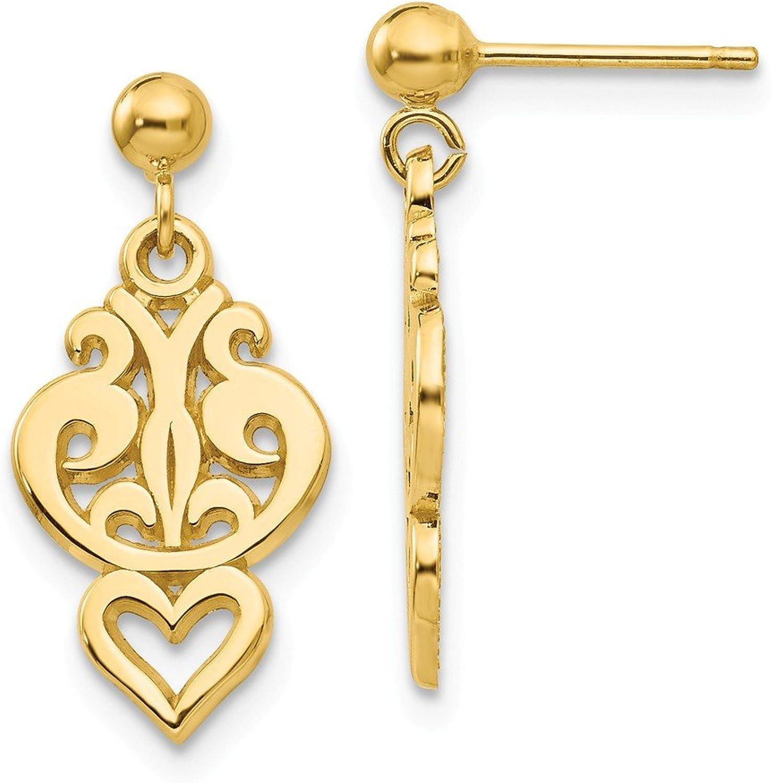Beautiful Yellow gold 14K Yellowgold 14k Polished Fancy Dangle Post Earrings