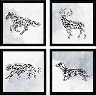 ArtX Paper Black and White Animals Nature Wildlife Wall Art Framed Paintings, 21 X 21 inches(Combined), 10.5 X 10.5 each, ...