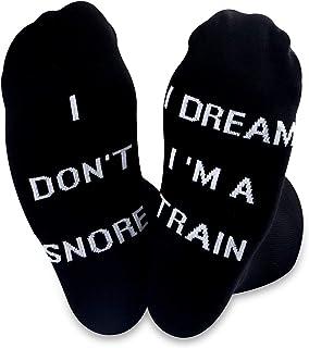TSOTMO 2 Pairs Novelty Socks for Men I Don't Snore I Dream I'm a Train Funny Socks for Dad Papa Boyfriend Husband
