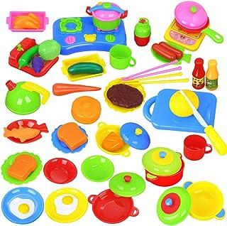 Coxeer 60PCS Kitchen Toy Set Creative Pretend Game Toy Kitchen Play Toy for Children