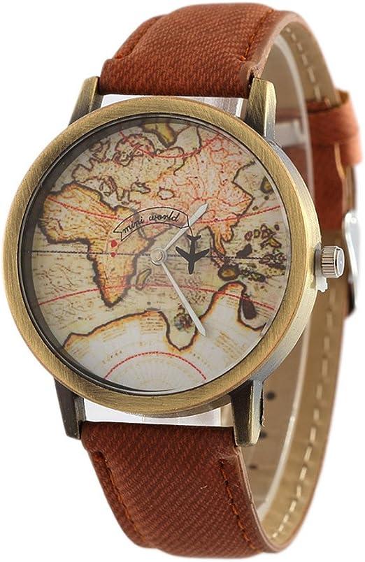 Amazon.com: Reloj retro del mapa del mundo,Reloj de pulsera de cuero de la  vendimia para hombres, Retro, Rojo : Ropa, Zapatos y Joyería