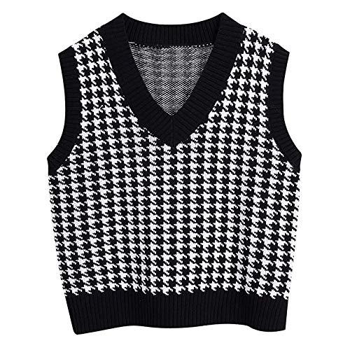 GOKOMO Pullover Damen Lingge V-Ausschnitt Strickpullover ärmellos Sweatshirt Pullunder Strickweste Warm Top Lässige Lose Tunika Bluse Shirt Oberteil Kleidung