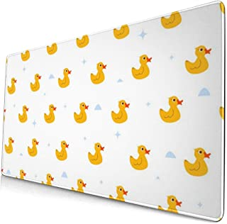 Computer Game Mouse Pad Cute Ducky Floats Large Mousepad Keyboard Rubber Non-Slip Desk Cover Mouse Mat (15.8x29.5x0.1 in)