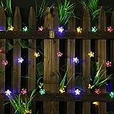 Solar String Lights – Solar Garden Lights con 50 luces LED de flores para jardín, decoración de jardín, multicolor, festival, fiesta de Navidad, iluminación solar para exteriores (multicolor)