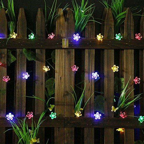SKYFIRE Solar-Powered Flower Outdoor String Lights, 50LED Waterproof Blossom Solar Fairy Lights for Outdoor,Garden, Patio