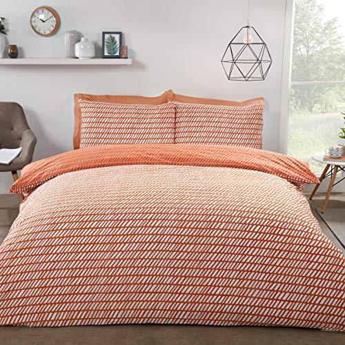 Sleepdown Mark Chevron Geometric Reversible Duvet Cover Quilt Bedding Set with Pillow Cases Easy Care - King - Orange Peach