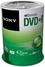 Sony 100DPR47SP 16x DVD+R 4.7GB Recordable DVD Media – 100 Pack Spindle