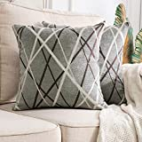<span class='highlight'><span class='highlight'>MIULEE</span></span> Cushion Covers Chocolate Ice Cream Line Decorative Square Pillowcases for Couch Livingroom Sofa Bed with Invisible Zipper 40cm x 40cm 16x16 Inches 2 Pieces Light Gray