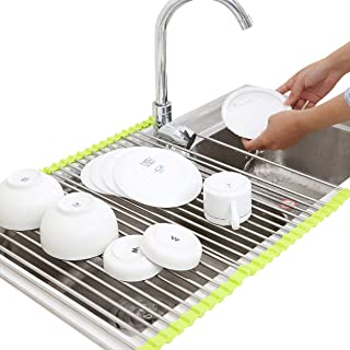17.8''x15.8'' Roll up Dish Drying Rack over the Sink Dish Drying Rack 304 Stainless Steel Dish Rack Foldable Dish Drainers for Kitchen Sink Counter By Ahyuan (Green)