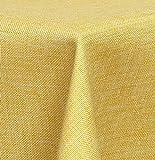 Maltex24 Textil Tischdecke – Leinen Optik – wasserabweisend oval (gelb, oval 160×220) - 4
