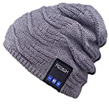 Bluetooth Beanie Hat,Mydeal Slouchy Knit Skully Beanie Cap with Wireless Bluetooth Headphone Headset Earphone Music Audio Hands-Free Phone Call for Winter Sports Fitness Gym Exercise Workout - Gray