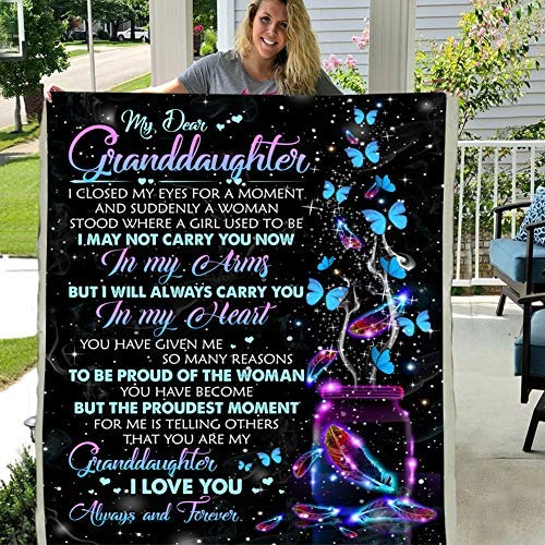 Personalized Custom Maylian to My Granddaughter I Love You 3D Custom Fleece Photo Blanket Fan Gift for Son Kids (X-Large 80 X 60 INCH)