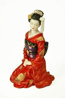 CAPRILO. Figura Decorativa de Resina Japonesa Geisha Arrodillada. Adornos y Esculturas. Decoración Hogar. Regalos Original...