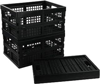 Utiao Black Collapsible Storage Bins, Folding Crate, Plastic Milk Crate, 3 Packs