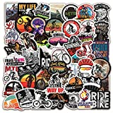 Mountain Bike Stickers|50 Pcs MTB Bike Waterproof Vinyl Decals for Bike Water Bottles Laptop Bicycle Refrigerator Cup Luggage Computer Mobile Phone Skateboard Décor
