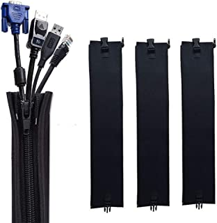 CableMGT ケーブル収納カバー 配線カバー 家庭/オフィス ケーブル整理 ジッパーデザイン 簡単インストール 耐久性 調整可能 DIY切断可能 防水タイプ 4枚セット 合計2m分