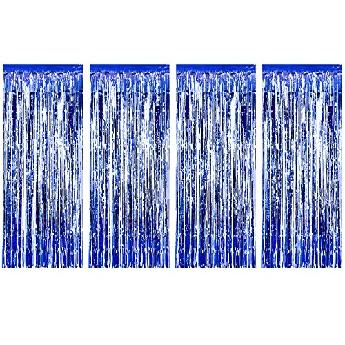 3 Pack Metallic Tinsel Curtains, Foil Fringe Shimmer Curtain Door Window Decoration for Birthday Wedding Party (Blue)