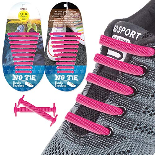 EZIGO 10+10 No Tie Shoelaces Upgraded Elastic Shoelaces for Adults/Kids Tieless Elastic Shoe Laces Waterproof Rubber Shoelaces for Sneakers Boots and Casual Shoes 20 Shoelaces Pink