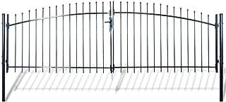 Festnight Outdoor Double Door Garden Fence Gate with Spear Top 6' x 13' Heavy Duty Steel Door Fence Practical Barrier Wall with 3 Keys (Black)