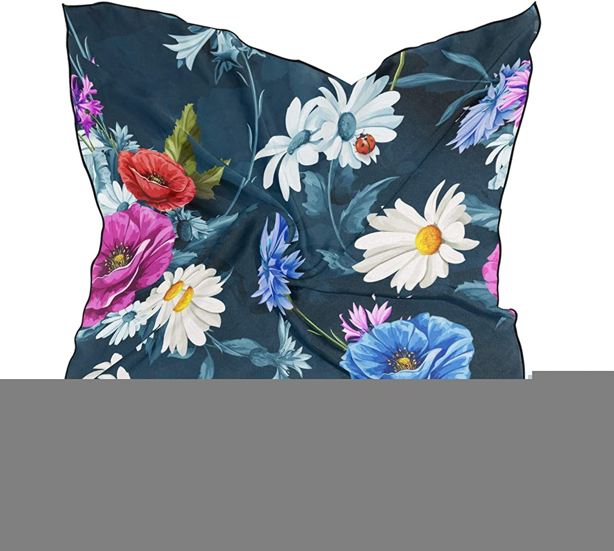 Soft Polyester Silk Scarf Square Fashion Print Colorful Beautiful Flower Poppy Field Ladies Scarf Square Fashion Scarf Womens Neckerchief Multiple Ways Of Wearing Daily Decor