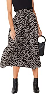 تنورة ماكسي للنساء بطباعة الفهد الشيفون على الشاطئ مطوي عالية الخصر على شكل حرف A تنانير طويلة