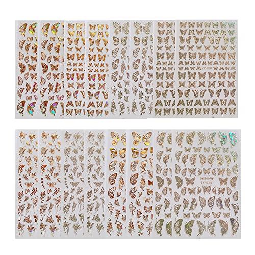 Kaimeilai 16 Blatt Nagelsticker Schmetterling, 3D Design Nagel Sticker, Selbstklebend Nagelaufkleber, Nail Art Sticker Nagel Abziehbilder für Frauen Mädchen Maniküre DIY Nagelstudio