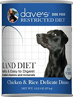 Dave's Pet Food Chicken and Rice Delicate Dog Food - Restricted Bland Diet Canned Dog Food - 13 Ounce Cans, Case of 12