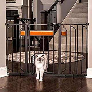 Carlson Home Design Extra Wide Walk Thru Pet Gate with Small Pet Door, Includes Décor Hardwood, 4-Inch Extension Kit, 4-Inch Extension Kit, 4 Pack of Pressure Mount Kit and 4 Pack of Wall Mount Kit