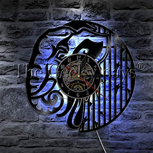 Night Light 1 Elephant Animal African Vinyl Record Reloj de pared Lámpara de pared moderna Animal salvaje LED Night Light Decoración del hogar Reloj de pared India Lámpara de mesa Pantalla