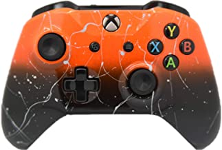 Best Hand Airbrushed Fade Xbox One Custom Controller Compatible with Xbox One (Orange & Black Fade W/Silver Splatter) Review