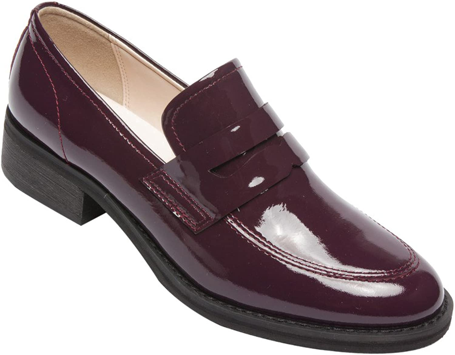 PIC PAY Eric - Women's Patent Penny Loafers - Stacked Leather Block Heel Casual Slip-On Flat Plum Patent 5.5M