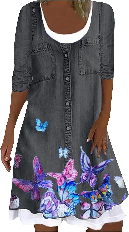 Mnyycxen Women's Long Sleeve Denim Mini Dress Button Loose Crew Neck Floral Printed Layered Patchwork Jean Tunic Dress