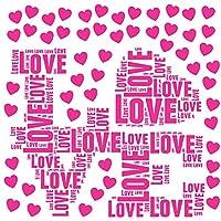 バレンタイン☆ シール式ウォールステッカー バレンタイン ウォールステッカー 飾り 60×60cm ハート 花 ピンク 017158