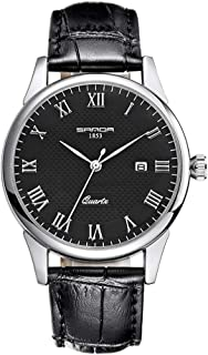 Juniors Boys Super Thin Quartz Analog Black Leather Strap...