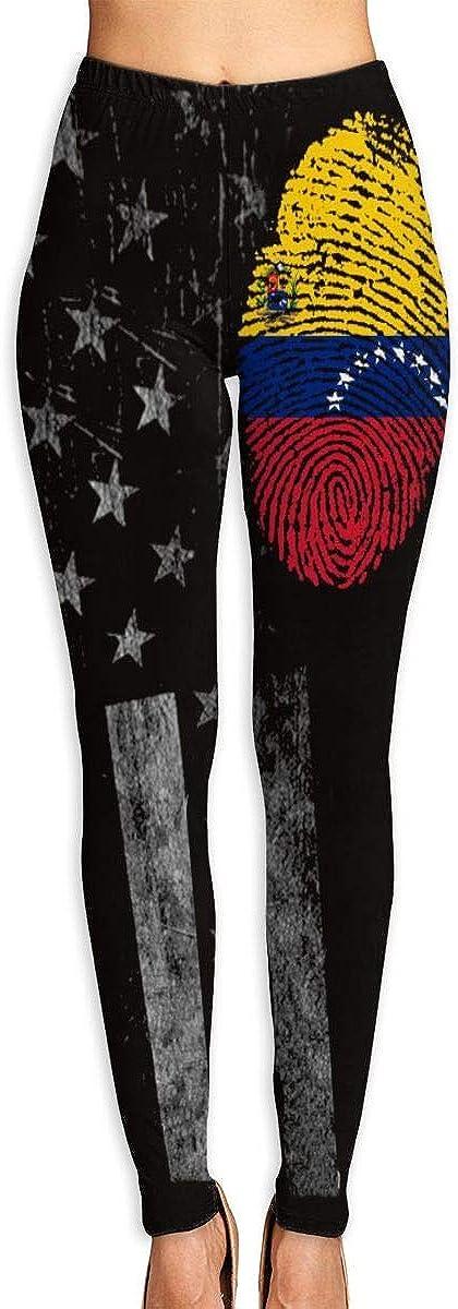 SUMSUNSHINE USA Flag Venezuela Flag Fingerprint Women's Leggings Full Length Tummy Control Yoga Pants