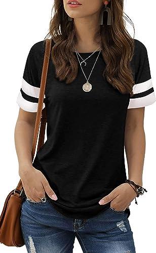 MIDOVAN Womens Summer Tops and Blouses Casual Crewneck Color Block Short Sleeve Shirts Basic Tee Loose T Shirts