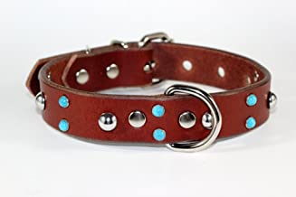 RAD N BAD COLLARS Studded Leather Dog Collar - Brown Leather Dog Collar - Turquoise Dog Collar - Handmade Leather Dog Collar Made in USA